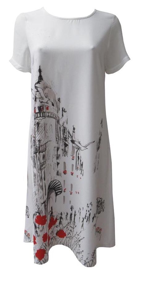 Maloka: A Day In Paris Abstract Art Midi Dress