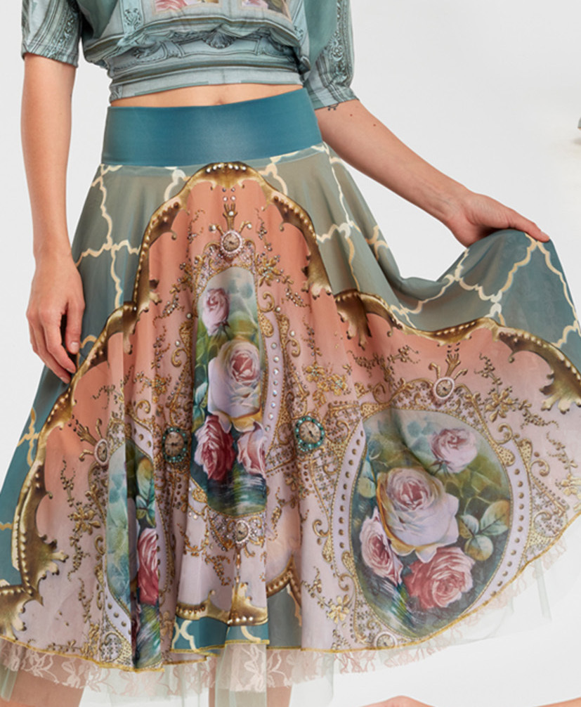 IPNG: Inna Me Diamond Illusion Rose Bouquet Midi Skirt (Some Ship Immed!)