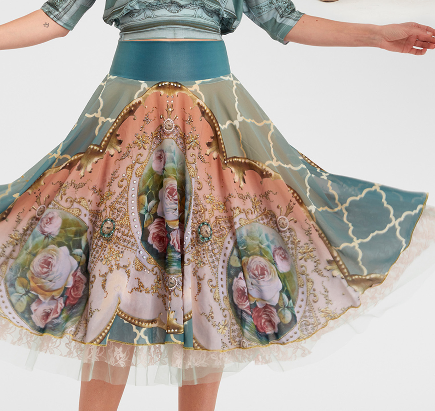 IPNG: Inna Me Diamond Illusion Rose Bouquet Midi Skirt (Some Ship Immed!) IPNG_TIMSKS-037