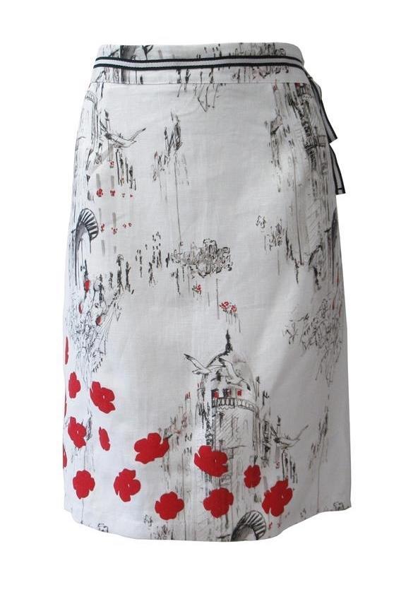 Maloka: A Day In Paris Abstract Art Linen/Cotton Skirt MK_BROOKE