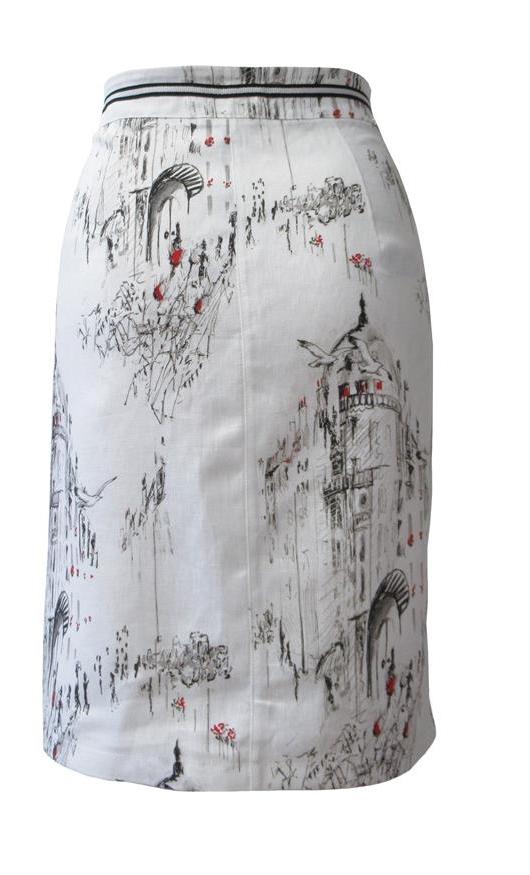 Maloka: A Day In Paris Abstract Art Linen/Cotton Skirt