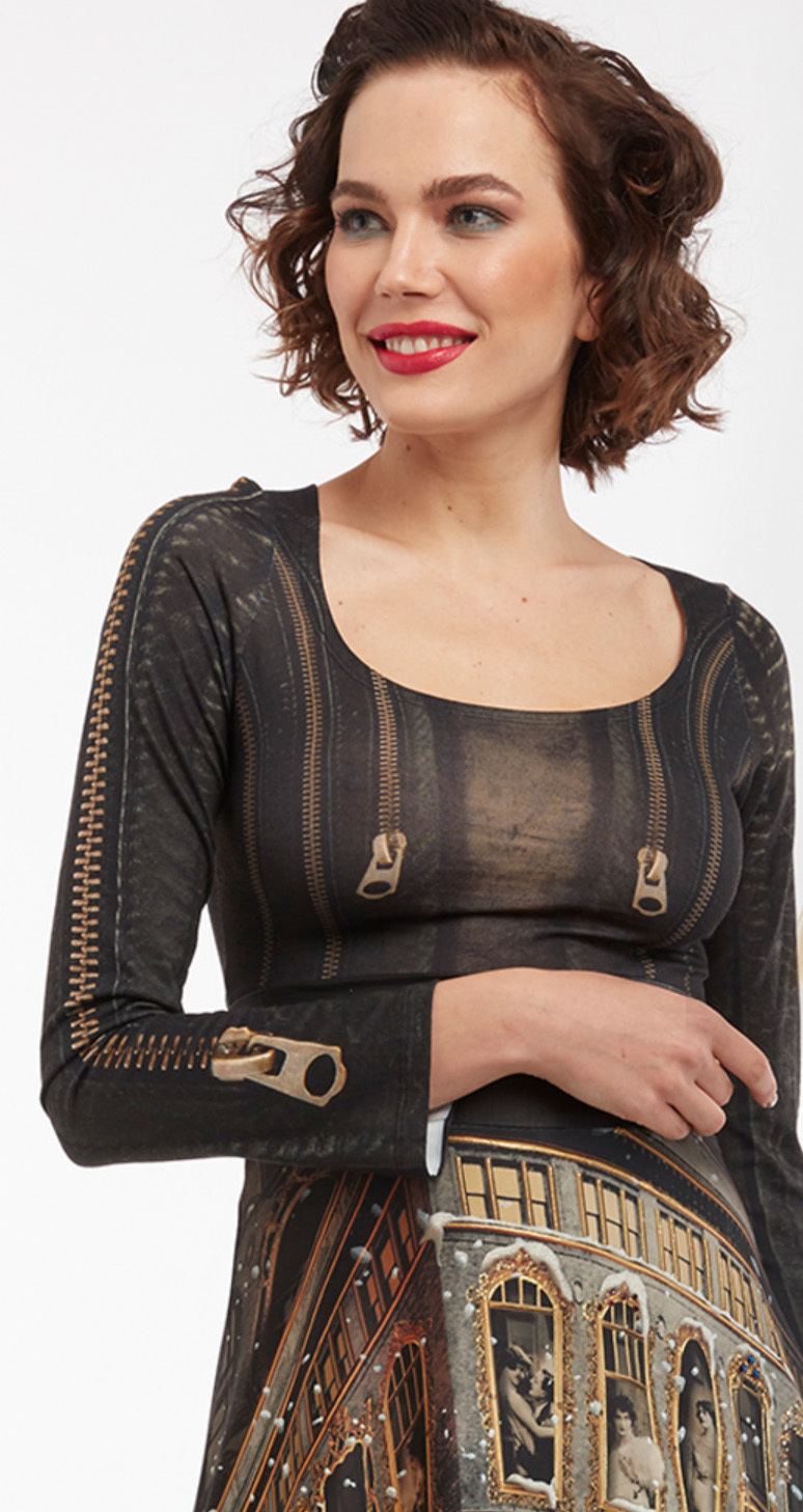 IPNG: Biker Chic Zip Illusions Crop Top (Some Ship Immed!) IPNG_LISSHM-021