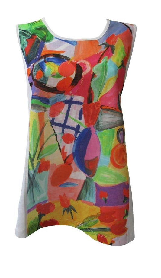 Maloka: Apples & Cherries Abstract Art Flared Linen Top (2 Left!)