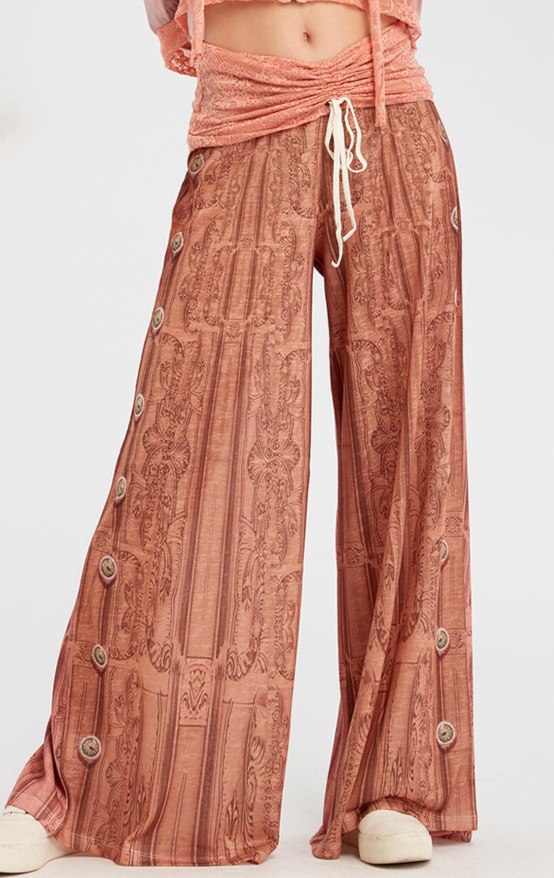 IPNG: Inna Me Royal Rose Clocks Illusion Comfort Drape Pants (Some Ship Immed!) IPNG_TIMYPD-063