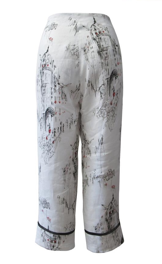 Maloka: A Day In Paris Abstract Art Linen/Cotton Cropped Pant