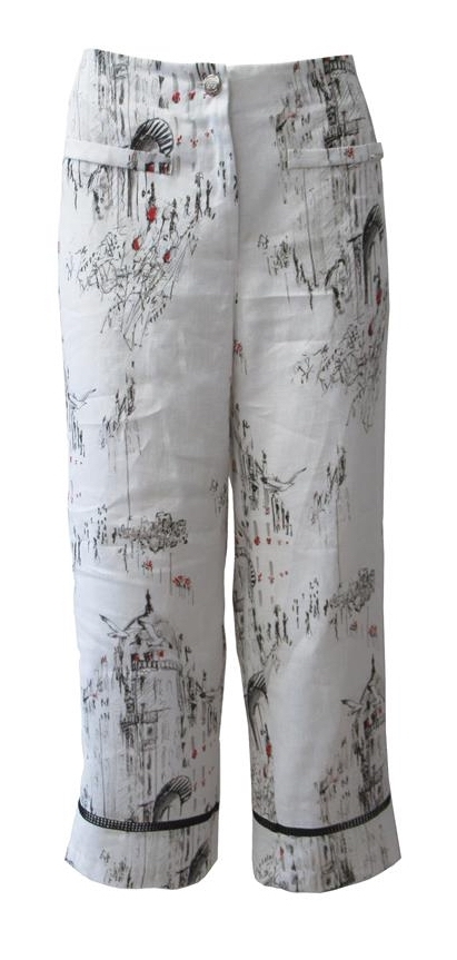 Maloka: A Day In Paris Abstract Art Linen/Cotton Cropped Pant MK_BENNET