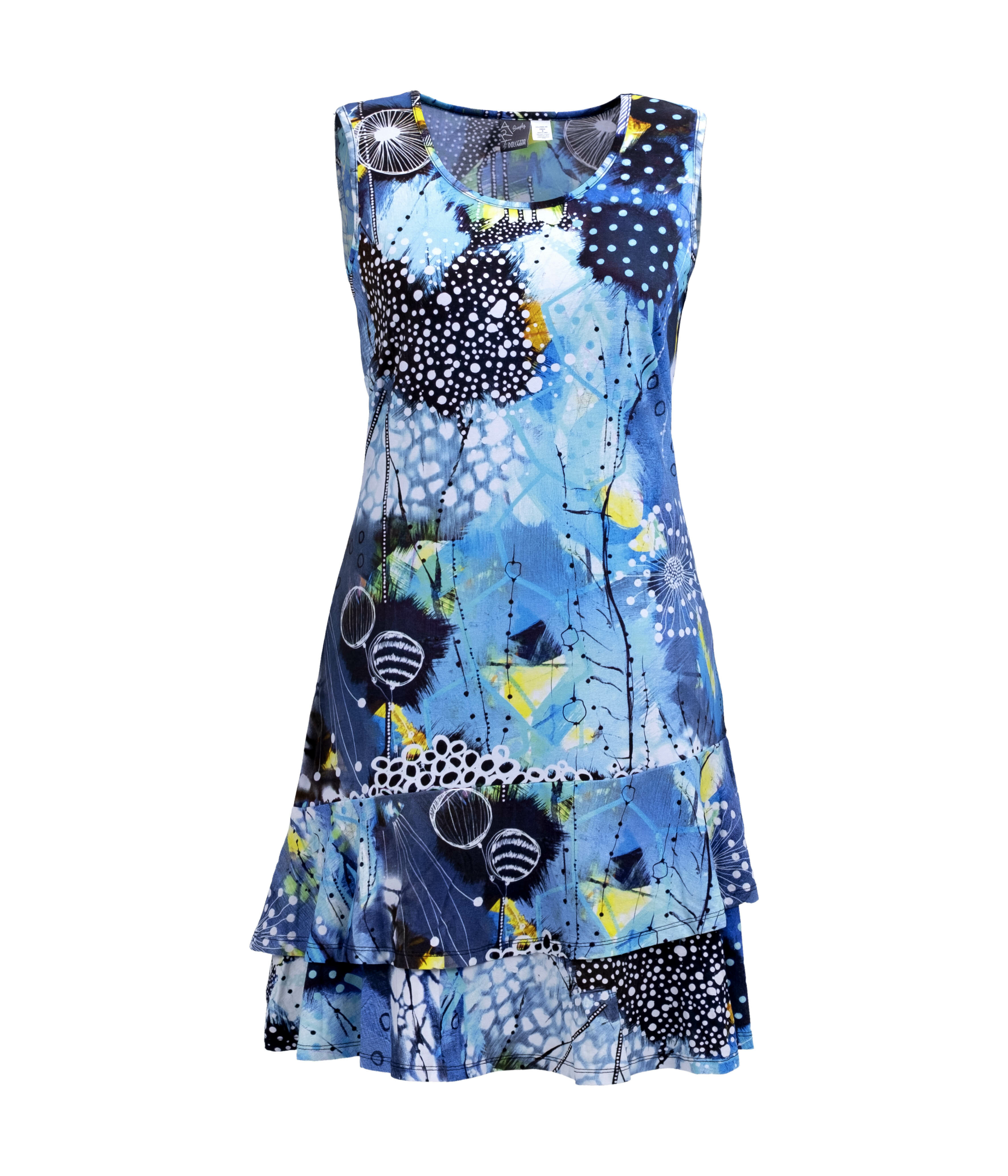 Simply Art Dolcezza: The Love of Blue Happiness Abstract Art Ruffled Dress