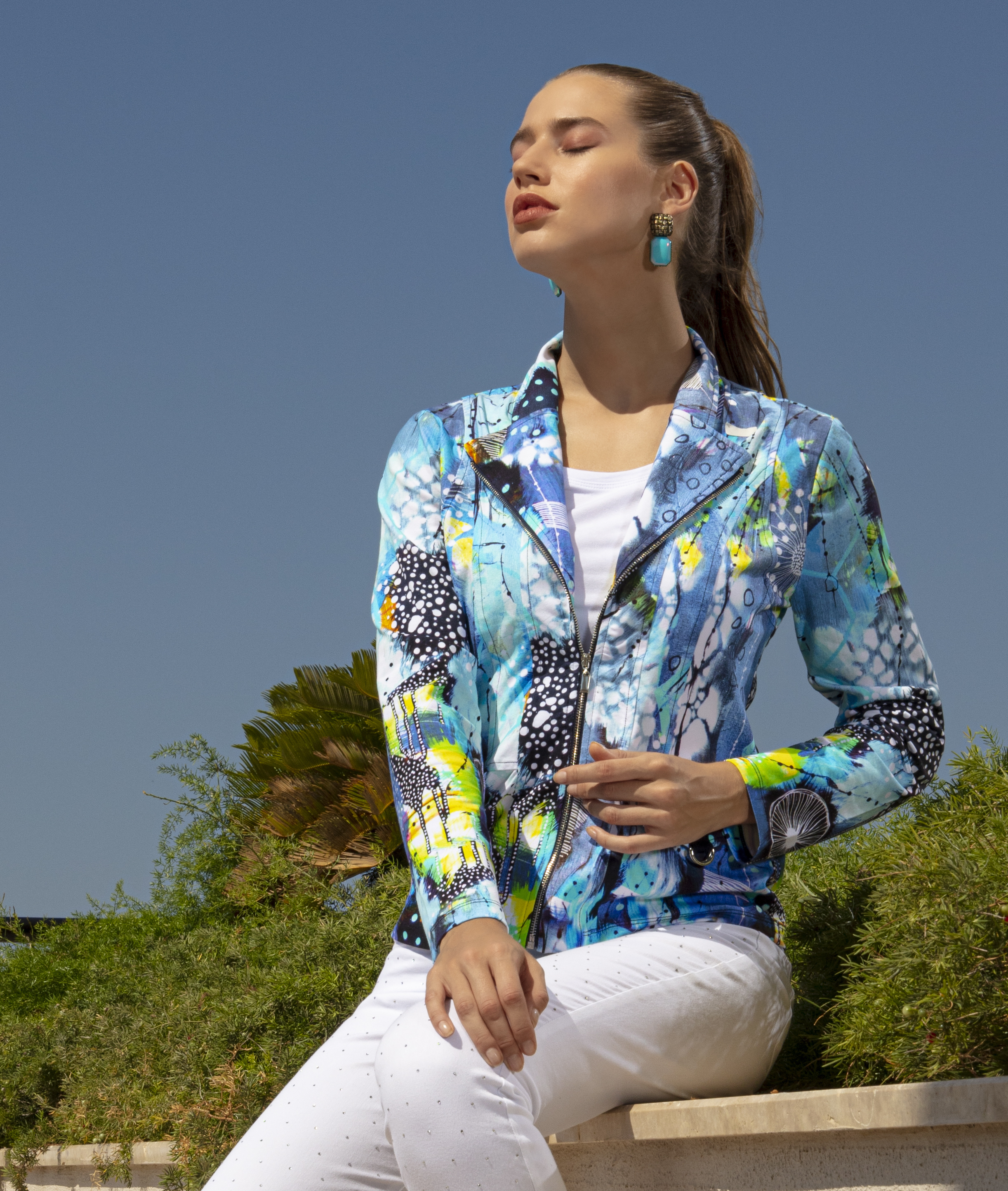 Simply Art Dolcezza: The Love of Blue Happiness Abstract Art Zip Jacket (1 Left!) DOLCEZZA_SIMPLYART_20628