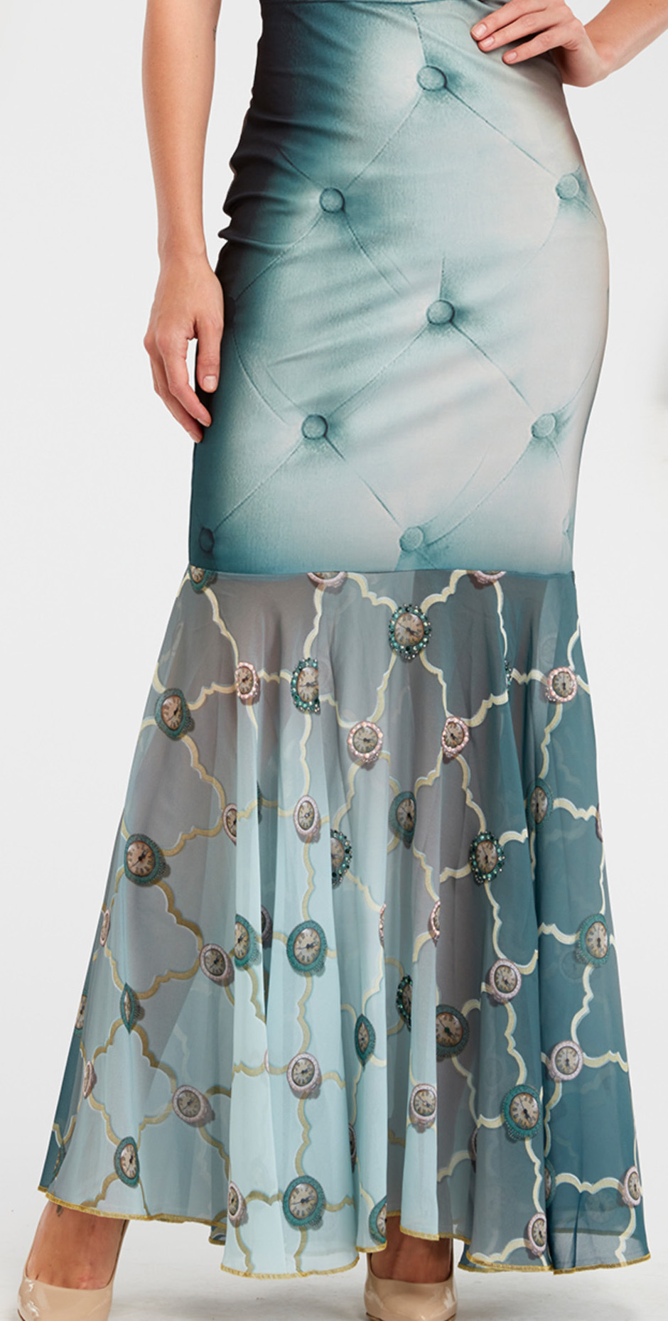 IPNG: Inna Me Clock Reflection Illusion Long Ruffled Skirt (Some Ship Immed!) IPNG_TIMSKRL-039