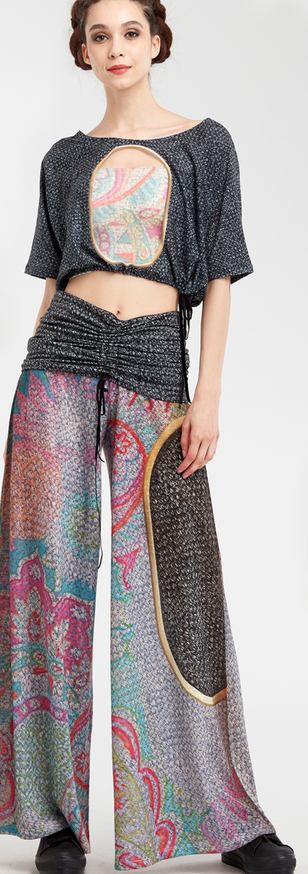 IPNG: Royal Summer Stamp Illusion Comfort Drape Pants (Some Ship Immed!)