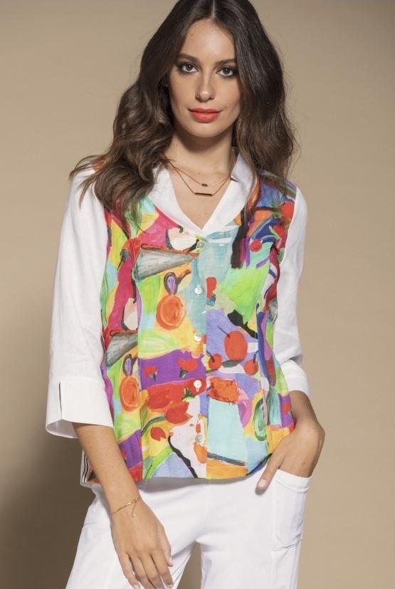 Maloka: Apples & Cherries Abstract Art Linen Buttoned Down Jacket MK_CINDI