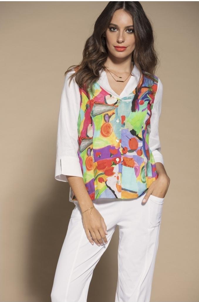 Maloka: Apples & Cherries Abstract Art Linen Buttoned Down Jacket