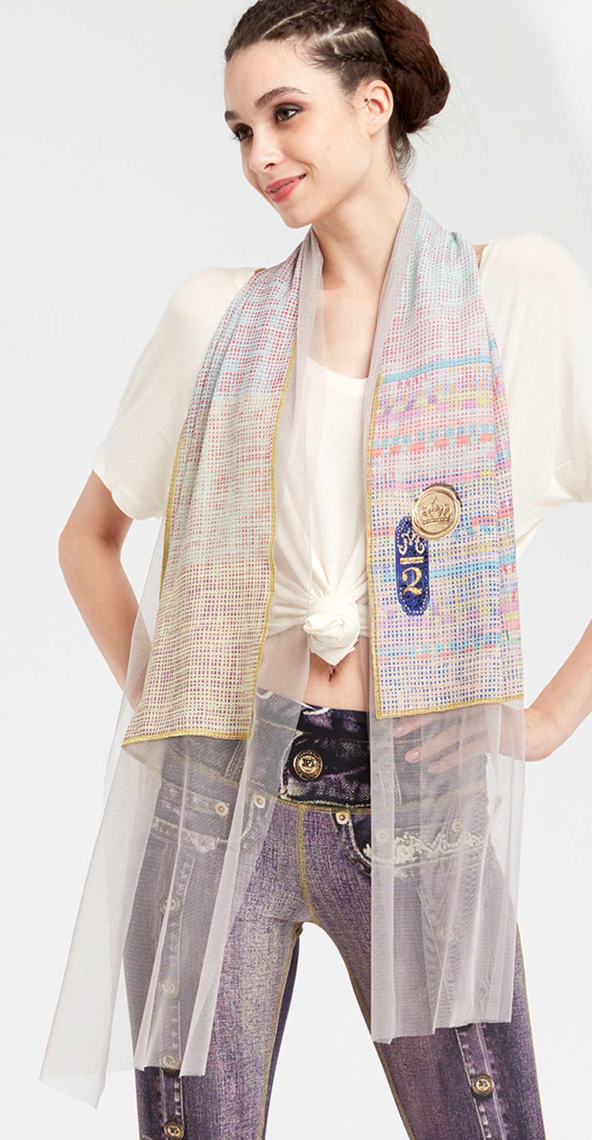 IPNG: Royal Summer Stamp Color Contrast Illusion Scarf (Ships Immed, 1 Left!) IPNG_RSSSCA-120
