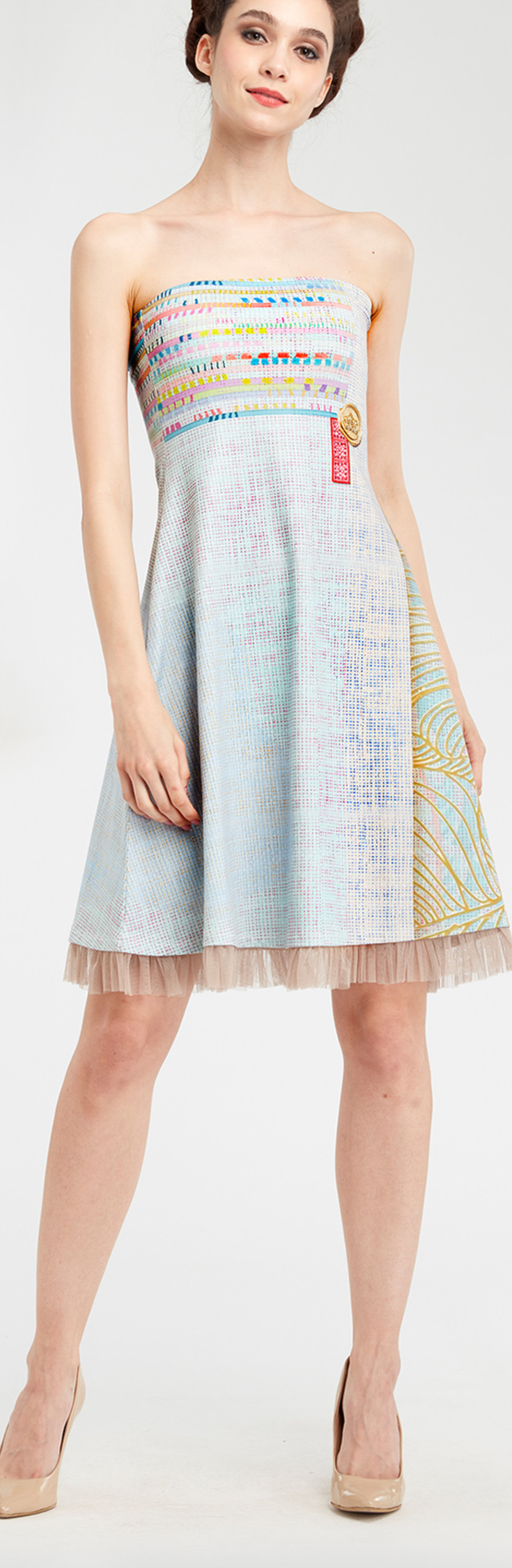 IPNG: Royal Summer Stamp Pastel Colors Illusion Midi Gown (Some Ship Immed!) IPNG_RSSD-098
