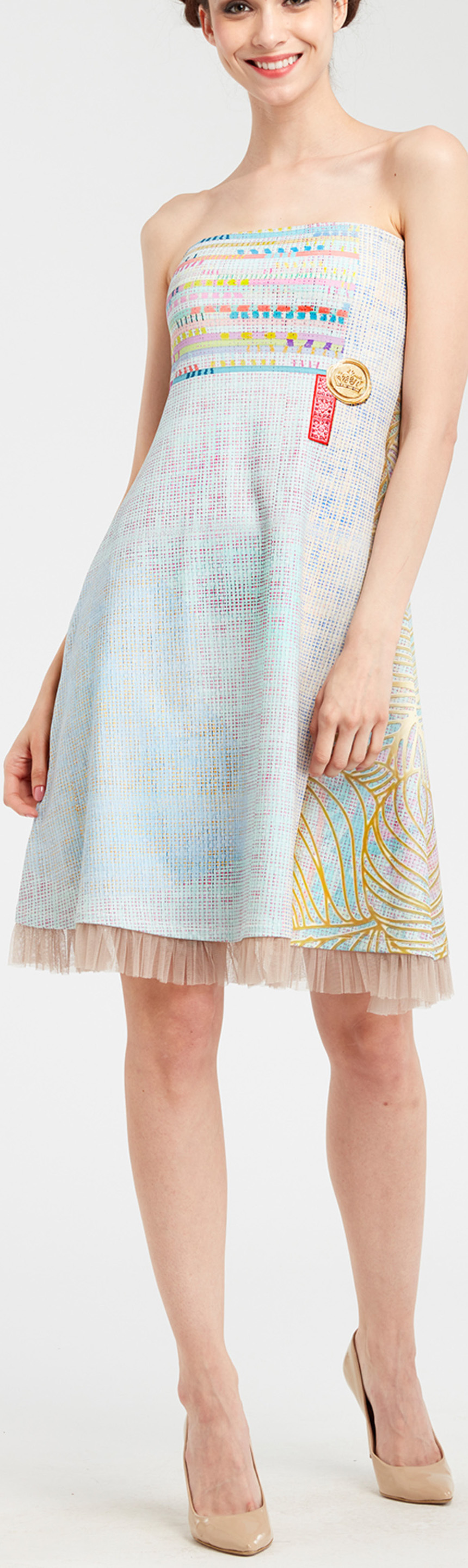 IPNG: Royal Summer Stamp Pastel Colors Illusion Midi Gown (Some Ship Immed!)