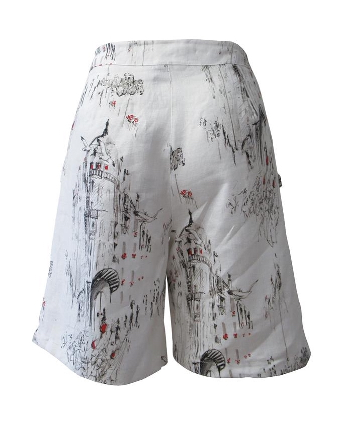 Maloka: A Day In Paris Abstract Art Linen/Cotton Shorts