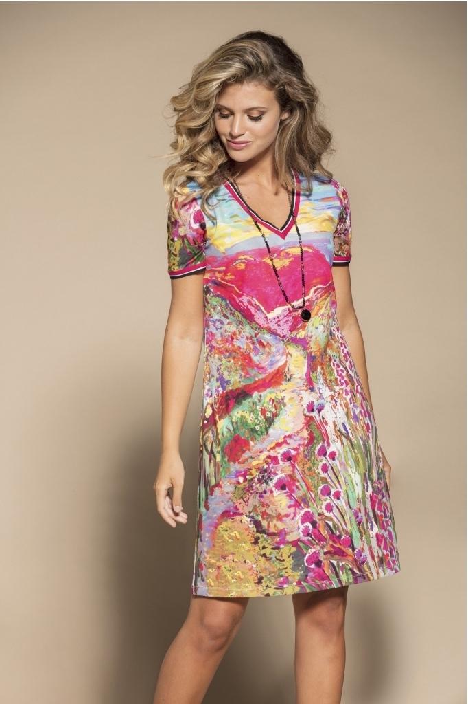 Maloka: Pink Isles Abstract Art Dress/Tunic MK_FLORENTINE