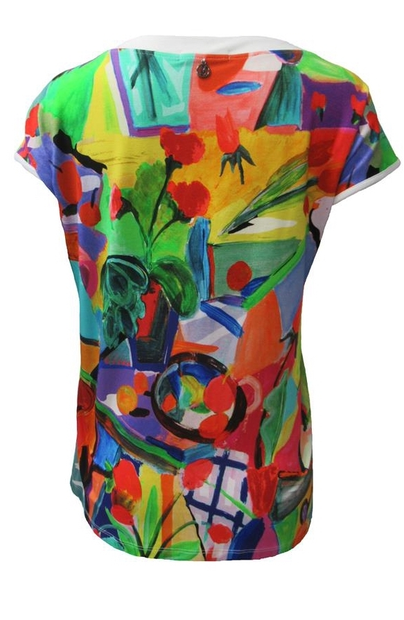Maloka: Apples & Cherries Abstract Art Keyhole Top