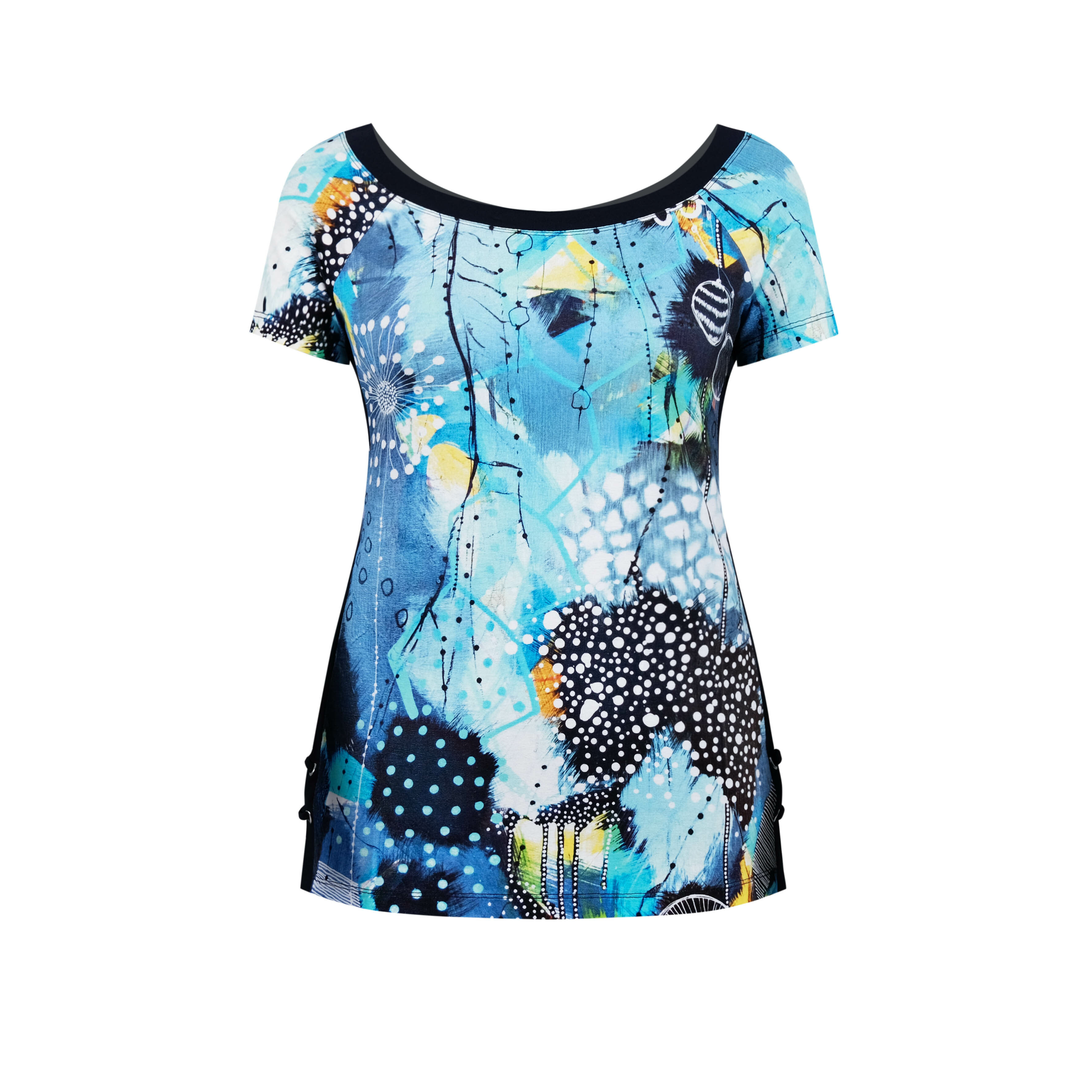 Simply Art Dolcezza: The Love of Blue Happiness Side Criss Cross Abstract Art Top (1 Left!)