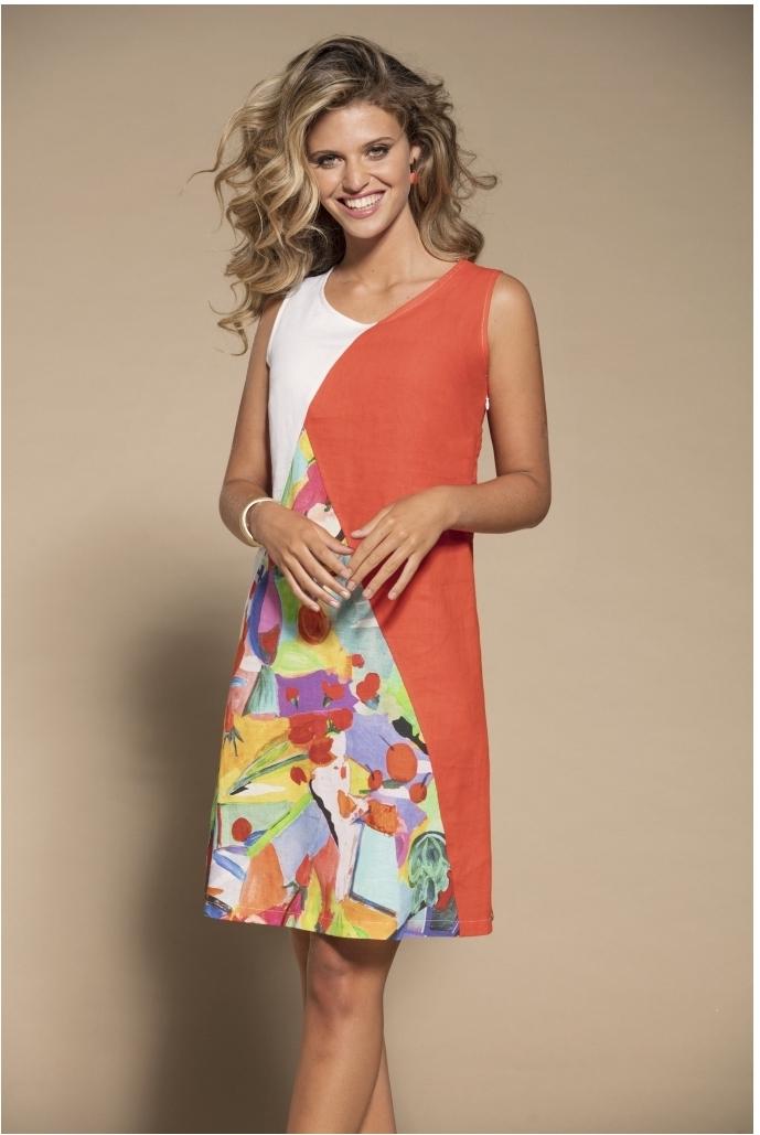 Maloka: Apples & Cherries Abstract Art Linen Dress MK_CIERA
