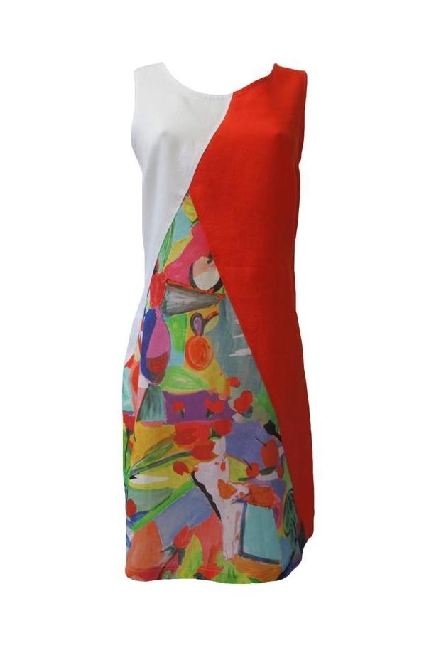 Maloka: Apples & Cherries Abstract Art Linen Dress
