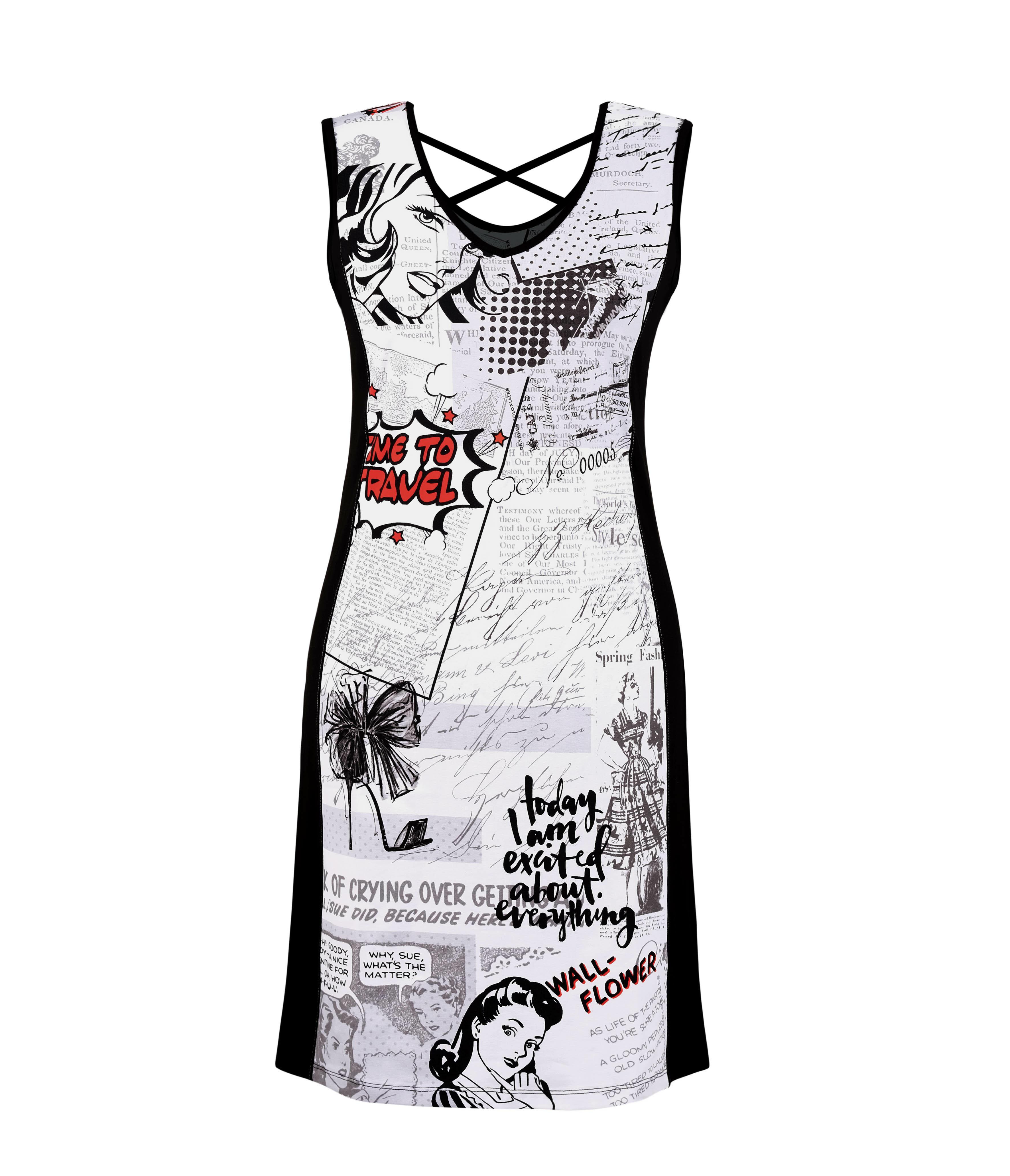 Dolcezza: Vintage Newspaper Boudoir Color Contrast Dress/Tunic (2 Left!) DOLCEZZA_SIMPLYART_20167