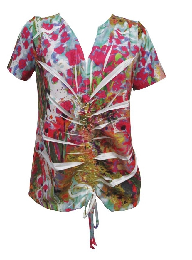 Maloka: Pink Isles Tied Hem Abstract Art Top MK_FIONNE
