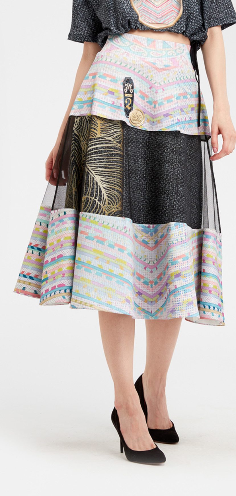IPNG: Royal Summer Stamp High Waisted Illusion Skirt (Ships Immed!) IPNG_RSSSKH-102