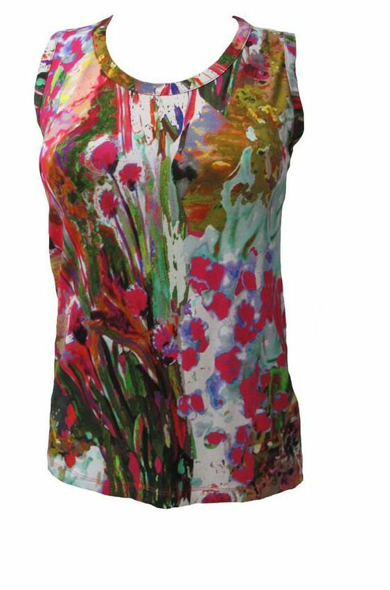 Maloka: Pink Isles Abstract Art T-shirt Tank MK_FREDA