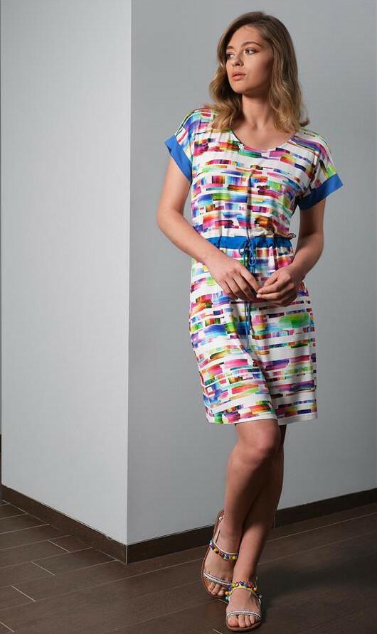 Paul Brial: Prismatic Tie Dye Drawstring Dress PB_LAGON