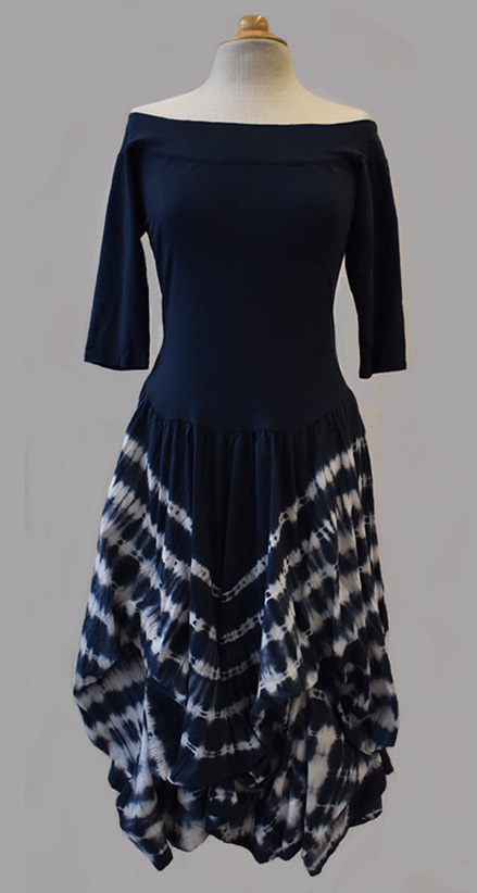 Luna Luz: Tied & Dyed Off Shoulder Diagonal Striped Hem Dress (Ships Immed in Navy!)