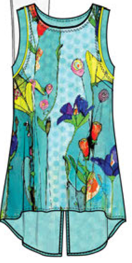 Simply Art Dolcezza: Summer's Coming Grand Bouquet High Low  Cut Out Art Tunic