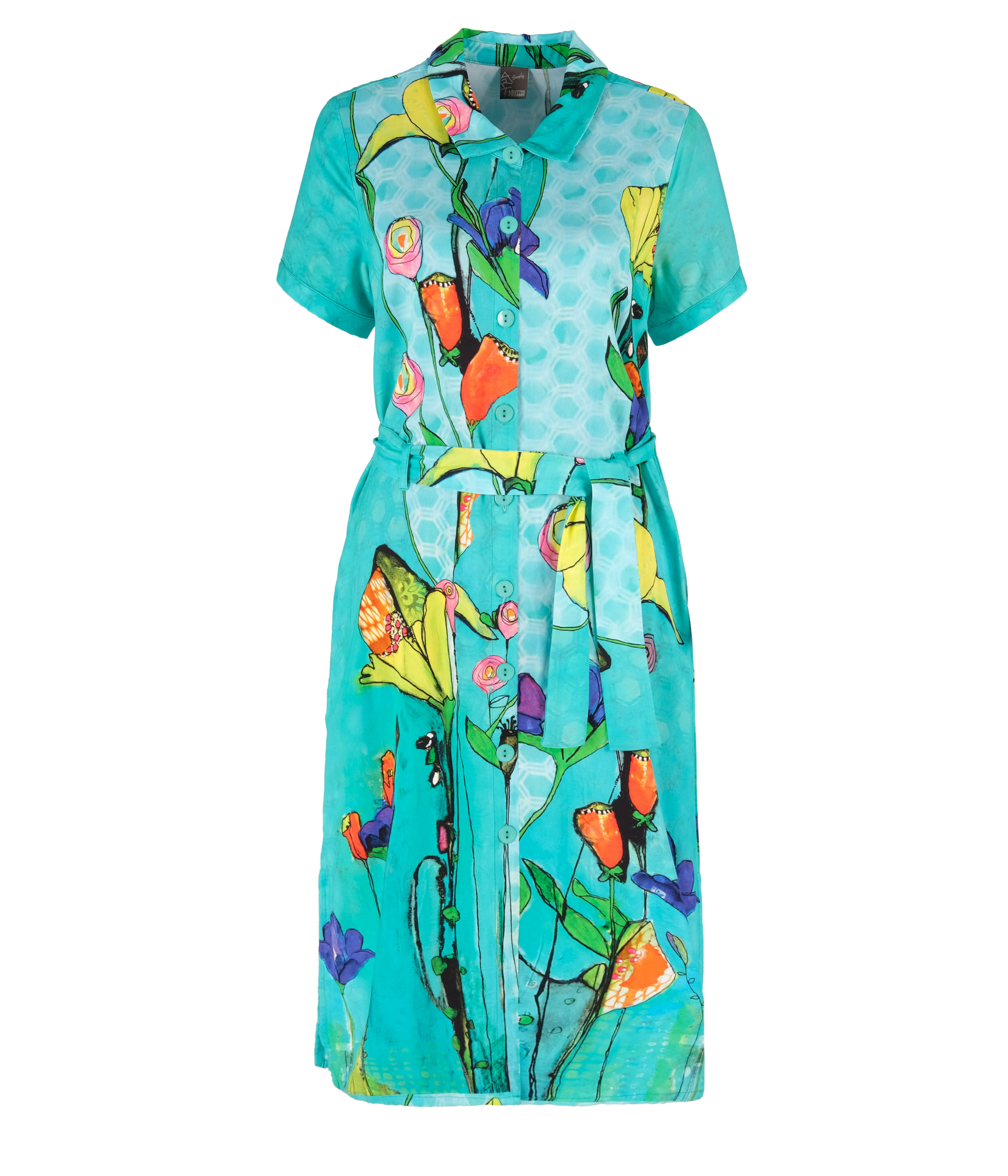 Simply Art Dolcezza: Summer's Coming Grand Bouquet Abstract Art Midi Shirt Dress DOLCEZZA_SIMPLYART_20746_N