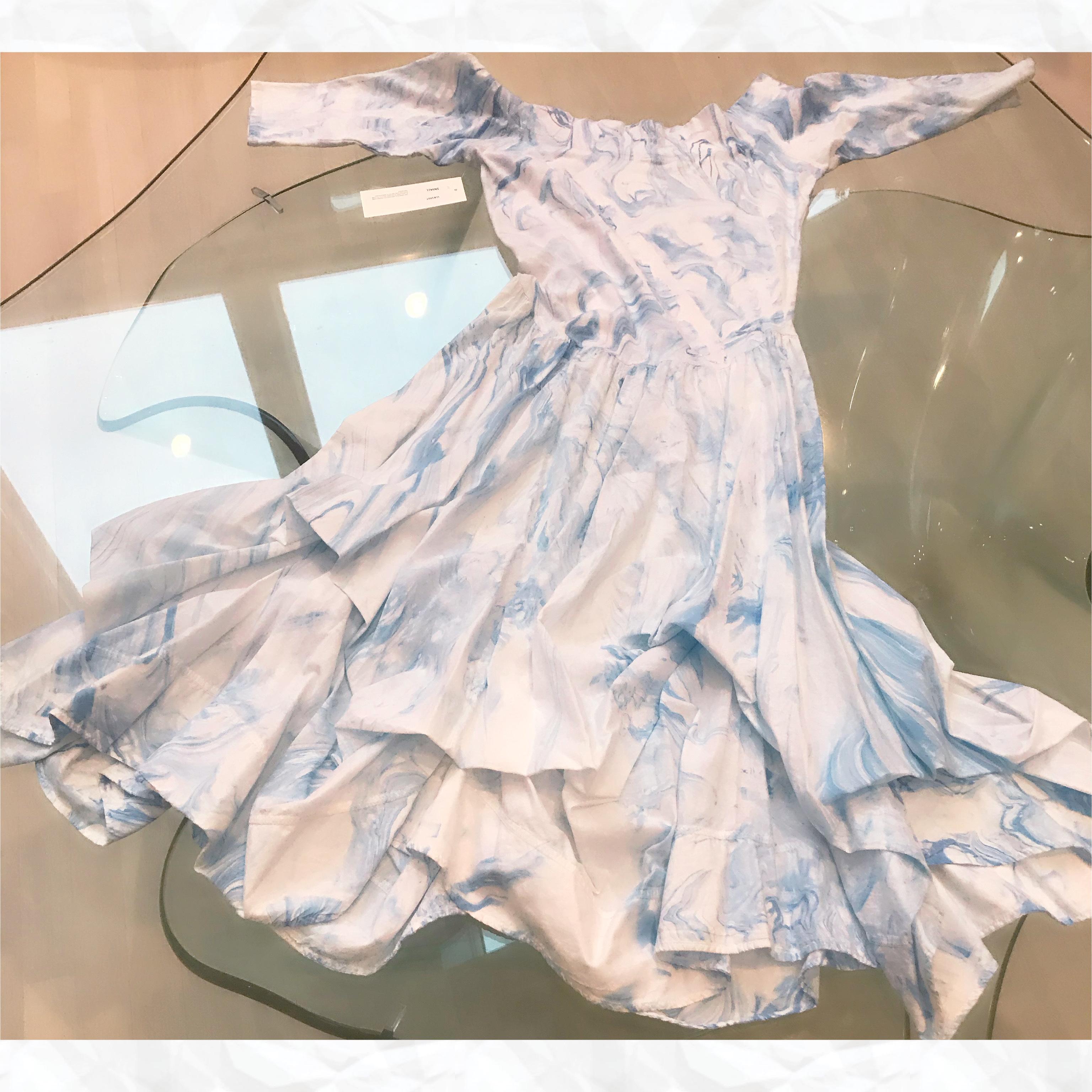 Luna Luz: Tied & Dyed Off The Shoulder Godet Dress (Ships Immed, 1 Left in Blue Marble) LL_393T_BLUEMARBLE