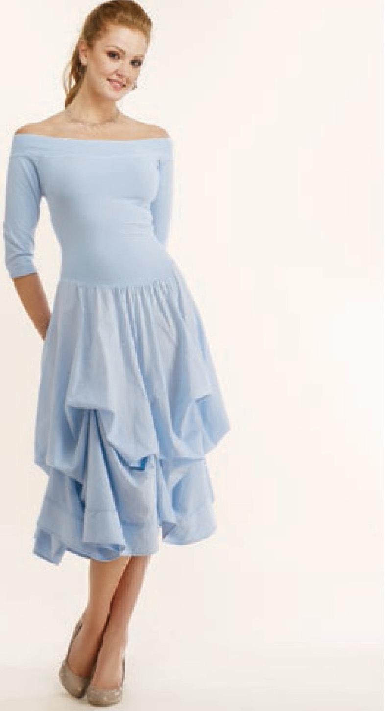 Luna Luz: Tied & Dyed Off The Shoulder Godet Dress (Ships Immed, 1 Left in Blue Marble)