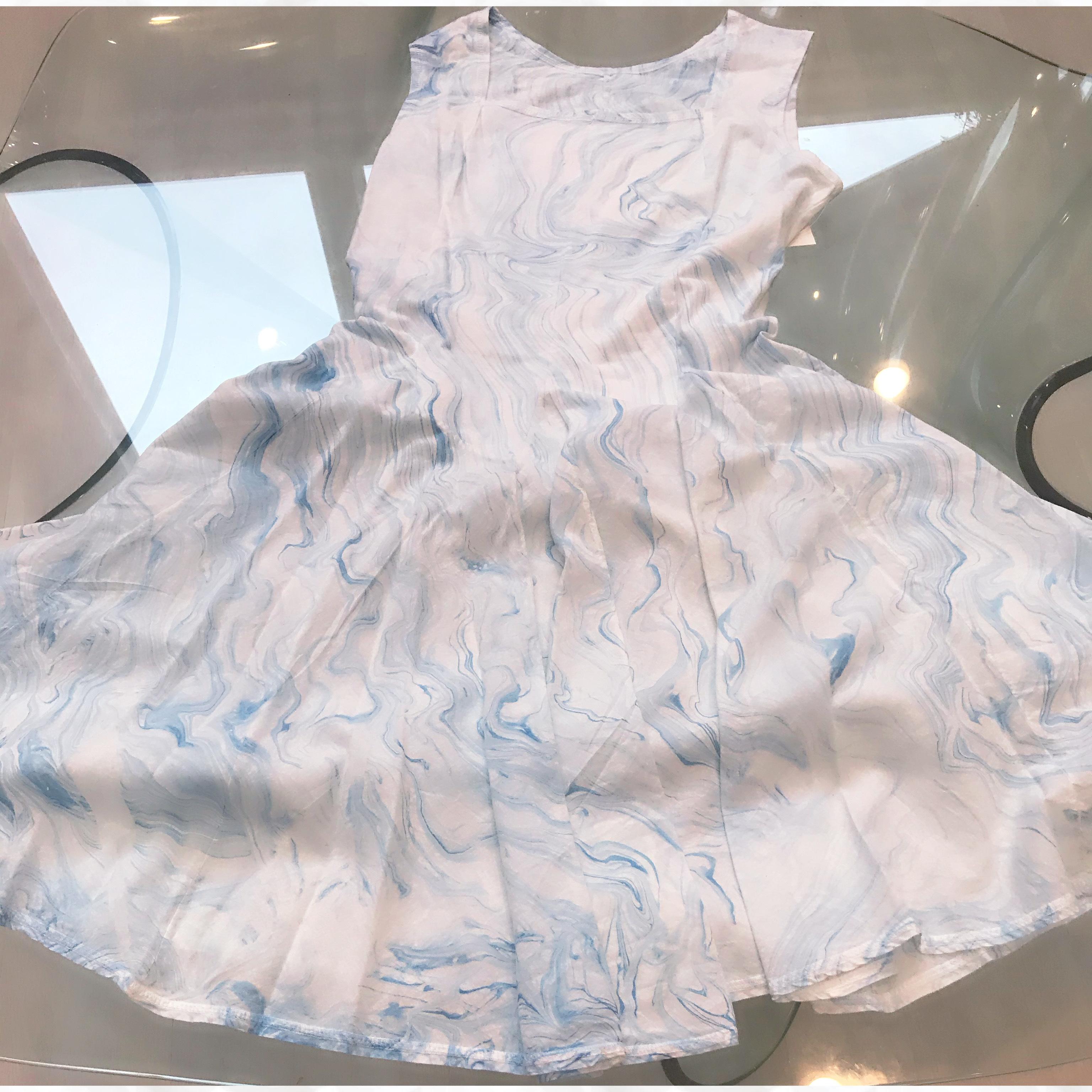 Luna Luz: Square Neck Godet Dyed Tank Dress (Ships Immed in Blue Marble, Navy Shoreline, Aqua Shoreline!)