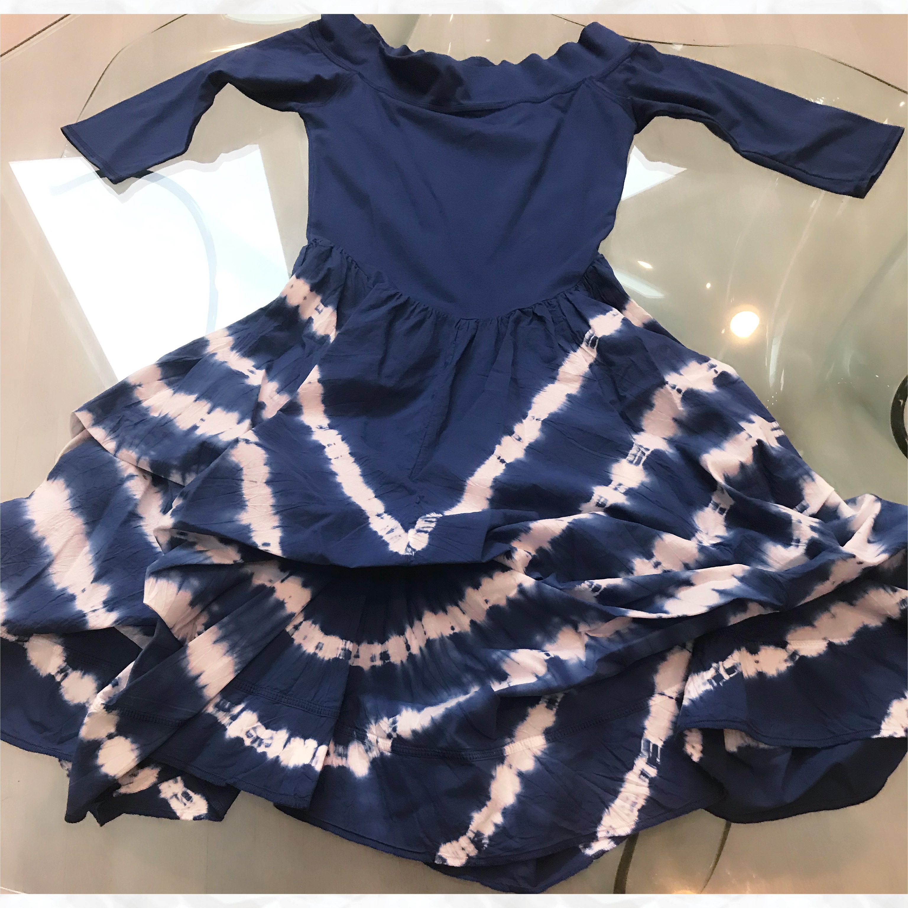 Luna Luz: Tied & Dyed Off Shoulder Diagonal Striped Hem Dress (Ships Immed in Navy!) LL_393T_BDS_NAVY