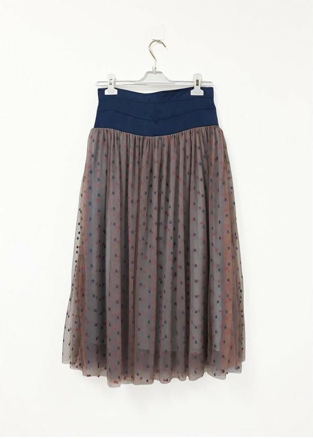 Paul Brial: Confetti Stretch Denim High Waisted Mixed Media Midi Skirt