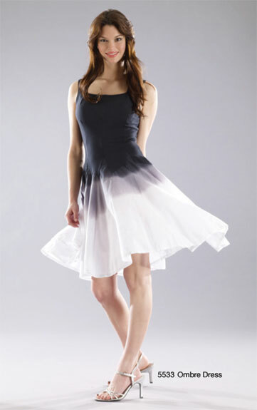Luna Luz: Godet Dyed Black/White Ombre Square Neck Dress (Ships Immed, 2 Left in Black/White!) LL_5533O_BW_N1