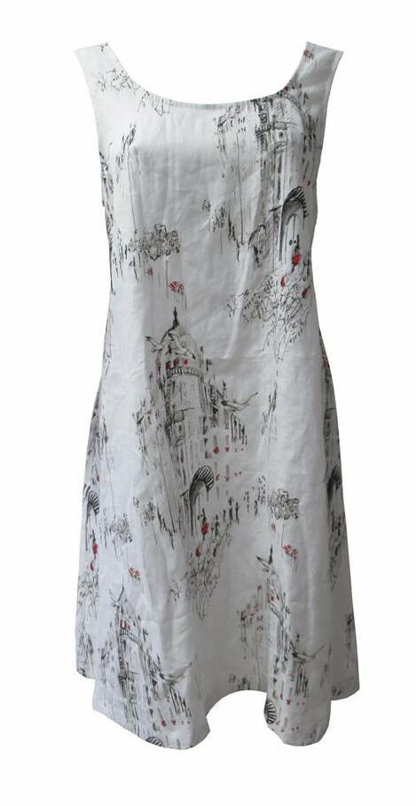 Maloka: A Day In Paris Abstract Art Flared Linen/Cotton Dress MK_BECKY