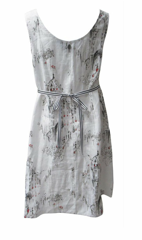 Maloka: A Day In Paris Abstract Art Flared Linen/Cotton Dress