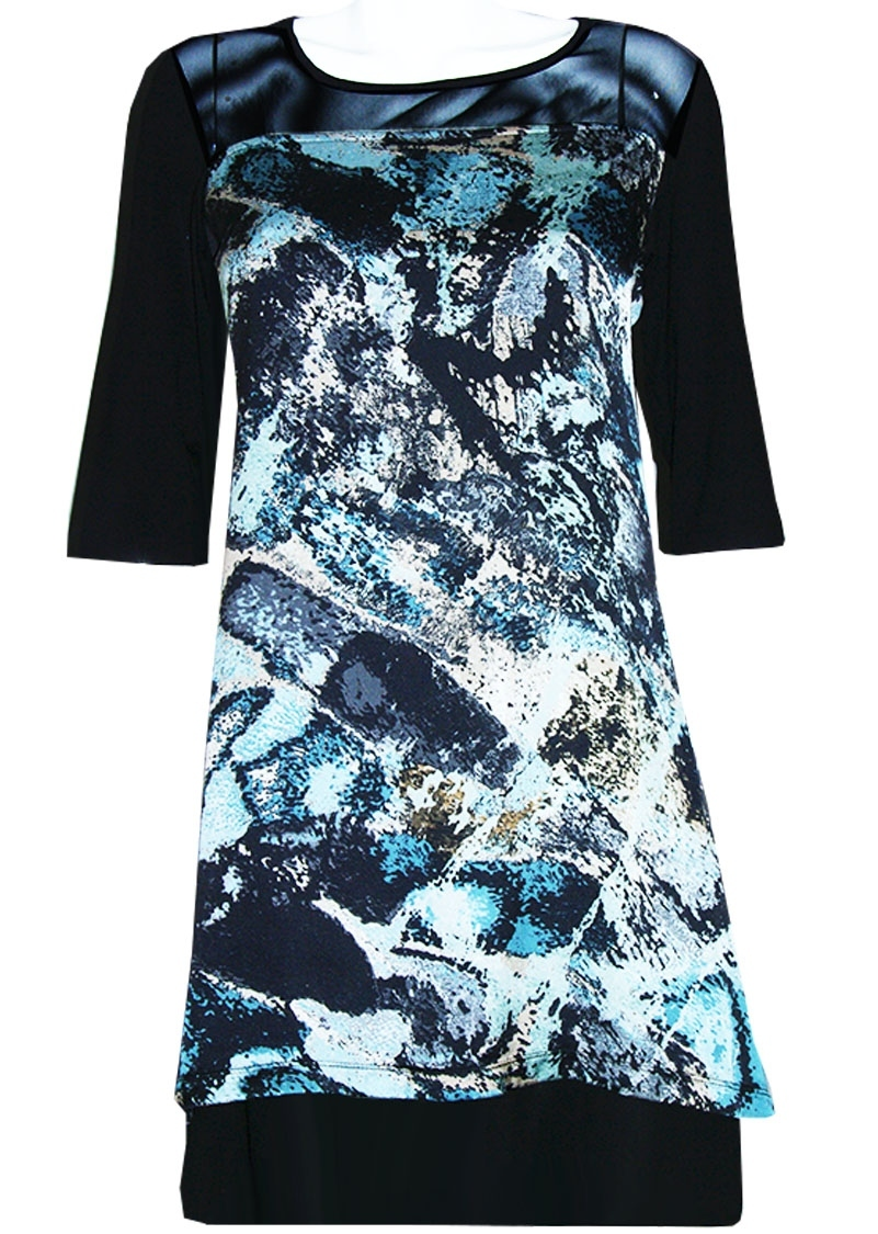 Double Jeu Paris: Matte Frosting Dress (Blue & Pink Front) DJ_ROBE_TREFFLE