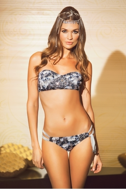 Paradizia Swimwear: Dangling Crystal Bustier Bandeau (Shown with matching Hipkini, 1 Left!) PARAD_HAREM12_N