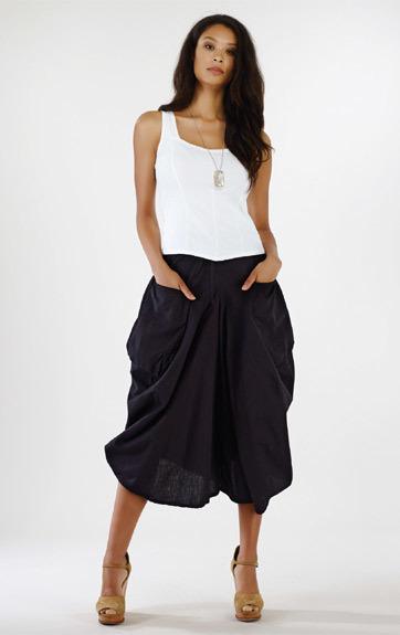 Luna Luz: Draped Cotton Cropped Culotte Skirt (Ship Immed, 1 Left!) LL_216_N