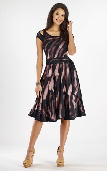 Luna Luz: Rain Forest Gored Dress with Cut Out Sleeves (1 Left, Ships Immed!) LL_375Z_N