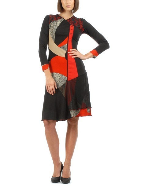 S'Quise Paris: Asymmetrical Color Pieced Midi Dress SQ_1574_N3