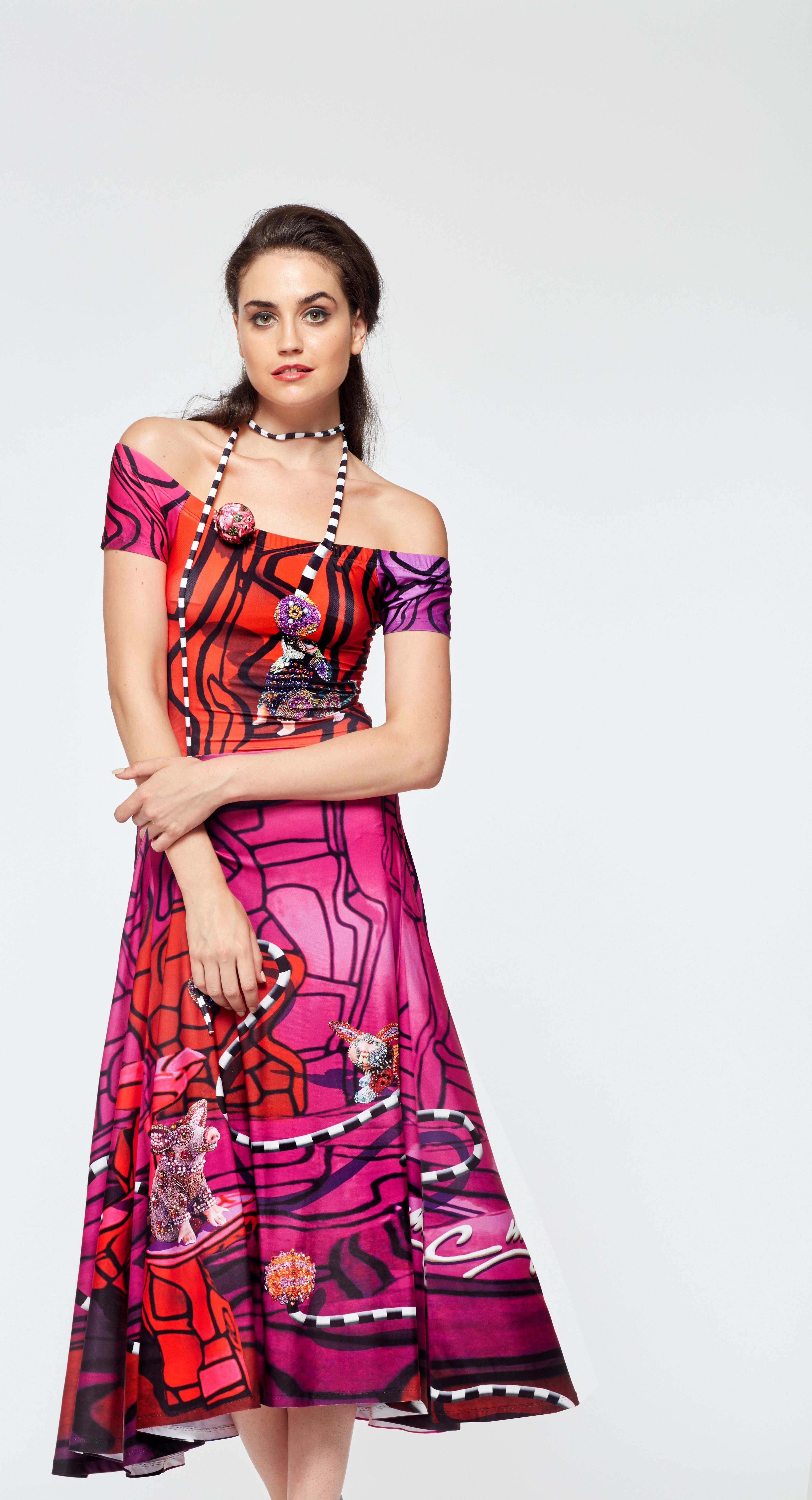 IPNG: Alice In Pink Wonderland Off-The-Shoulder Dress (Ships Immed, 1 Left!) IPNG_FDSO-57_N2