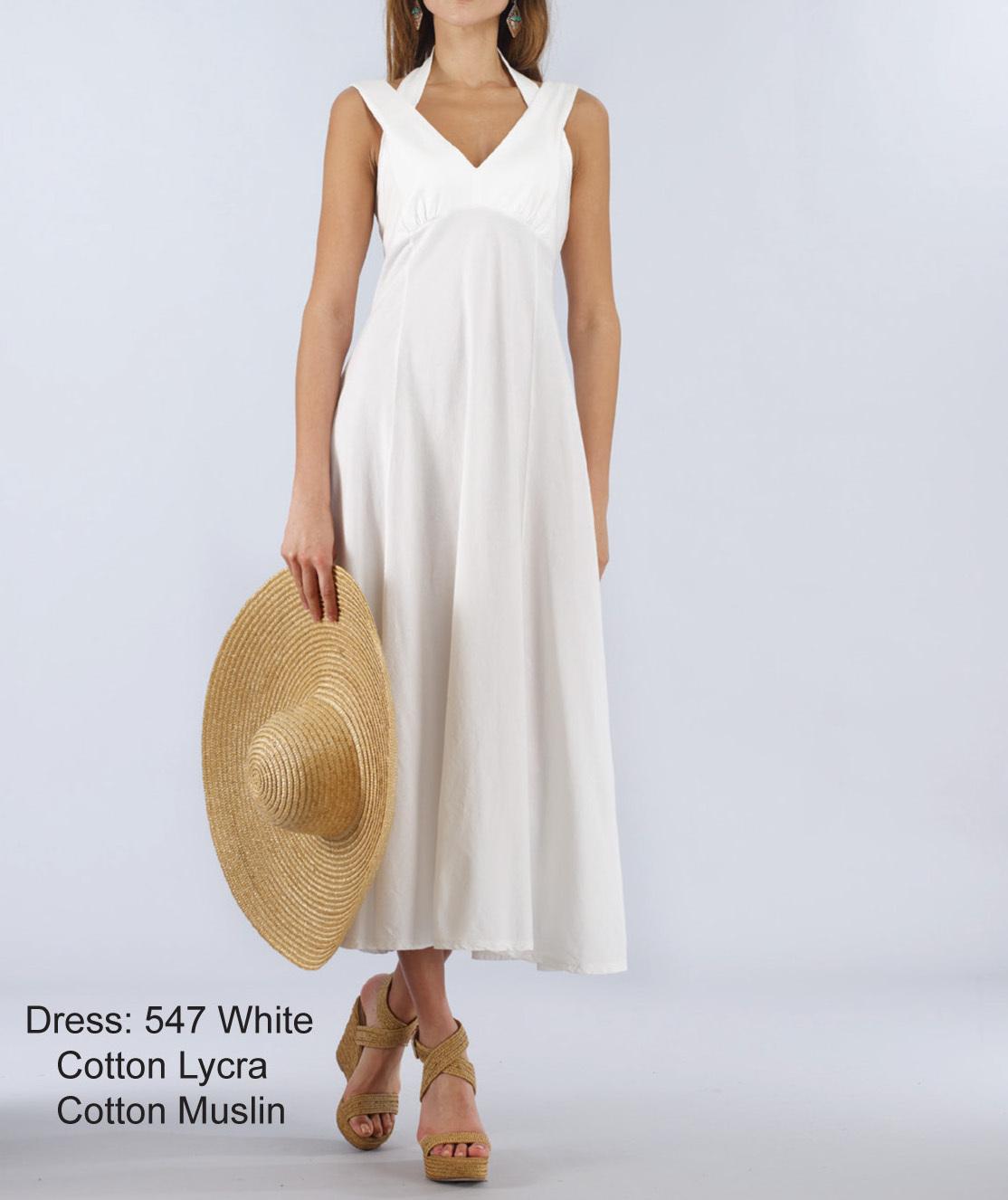 Luna Luz: Diamond Neck Cotton Muslin Dress SOLD OUT LL_547_N