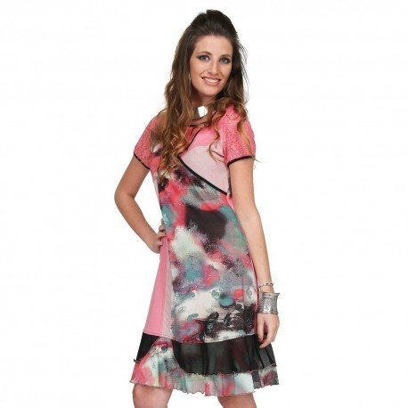 S'Quise Paris: Pink Sand Color Block Cotton Midi Dress SQ_RC1616_N1