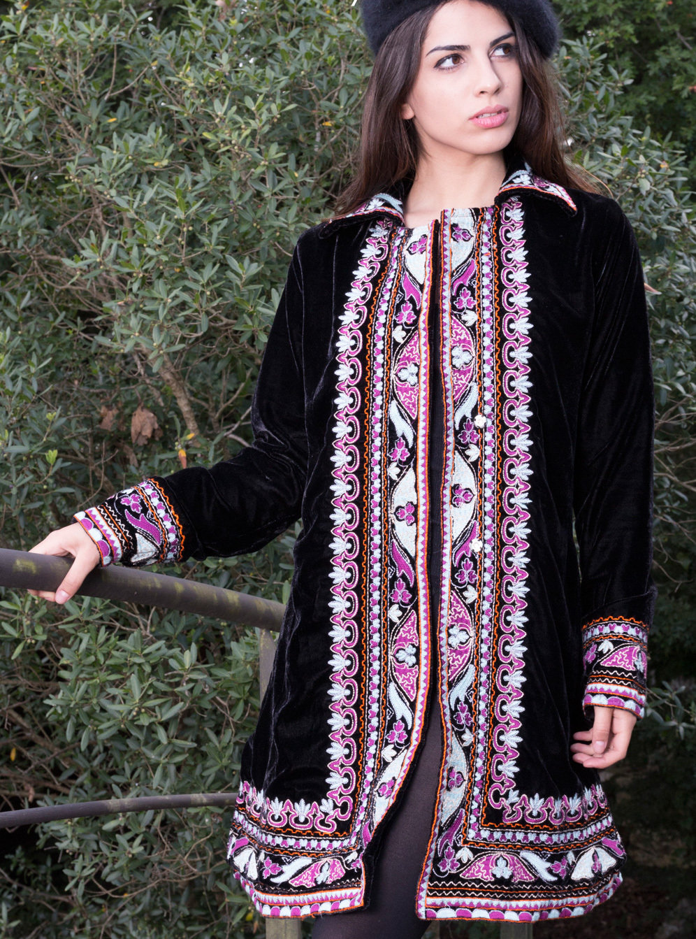 Savage Culture: Purple Pink Lotus Embroidered Long Coat Rhania